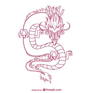 Orientalischen Drachen Zeichnung