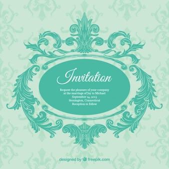 Ornamental Einladung in türkisen Farbe