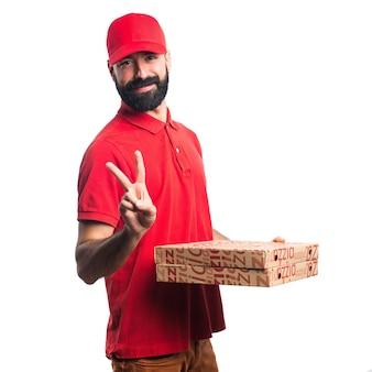 Pizza Lieferung Mann tun Sieg Geste