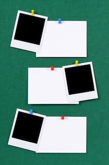 Polaroidfotos und Karteikarten