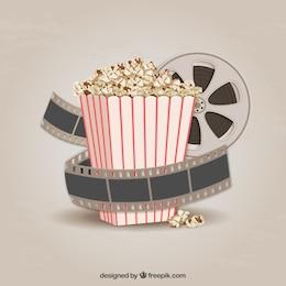 Popcorn und Filmstreifen