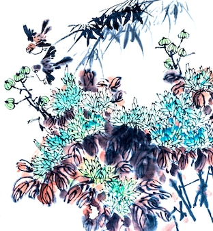 Porzellan Pinsel Element rot Kultur Vogel