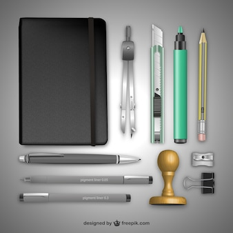 Realistische Büromaterial