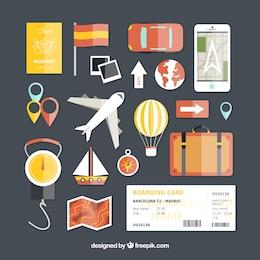 Reisen-Ikonen in flache Bauform