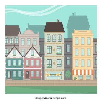 Retro städtischen Gebäuden