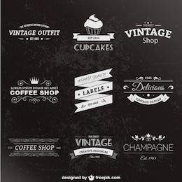 Retro-Stil-Etiketten-Pack