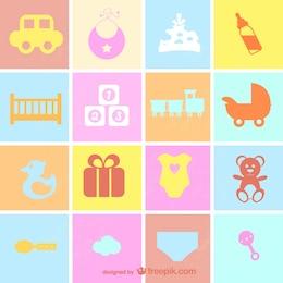 Retro-Stil flachen Baby-Symbole