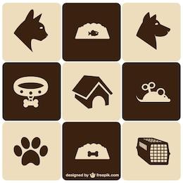 Retro-Stil Haustier Symbole gesetzt