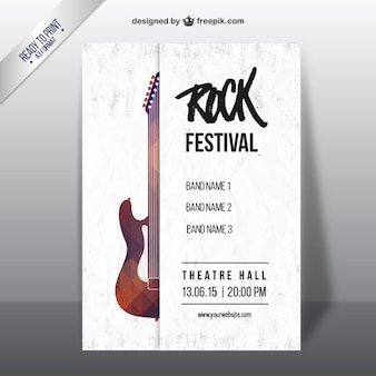 Rock-Festival-Plakat mit einem geometrischen Gitarre