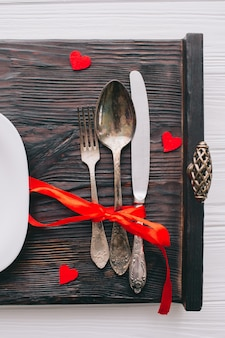 Romantisches Frühstück auf Tablett