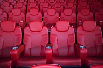 Roter Sitz im Kino. Verschwommener Hintergrund.