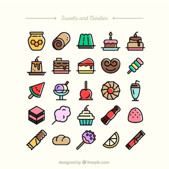 Sammlung von Süßigkeiten und Bonbons Symbole