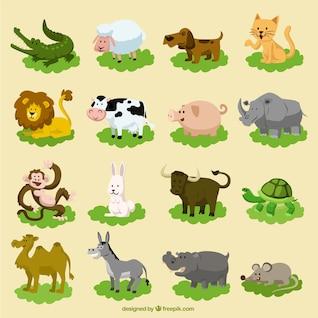 Satz von funny Cartoon Tiere