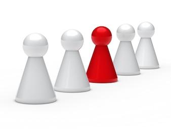 Schachfiguren und eine rote