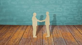 Scherenschnitt von zwei Geschäftsmann Hand schütteln