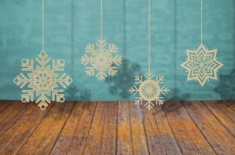 Schneeflocken von Saiten hängen