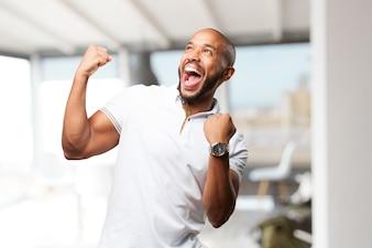 Schwarzer Geschäftsmann glücklich Ausdruck