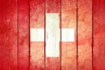 Schweiz Holz Grunge Flagge.