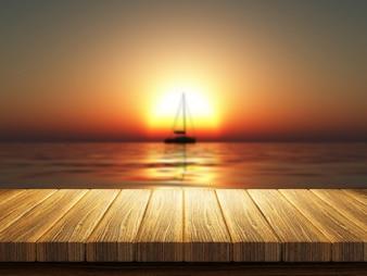 Segelboot in der Mitte der Sonne bei Sonnenuntergang
