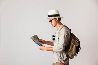Seitenansicht der Hipster Reisenden