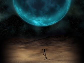 Silhouette eines Mannes stand unter einem surrealen Planeten