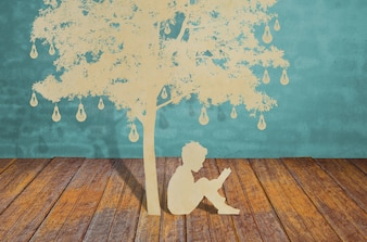 Silhouetten von Bäumen und Menschen auf einem Holz