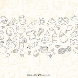 Sketchy Lebensmittel Hintergrund