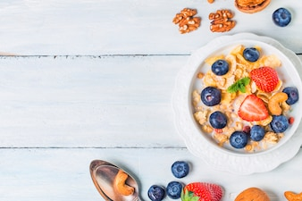 Snack Getreide Erdbeere Hintergrund Milch