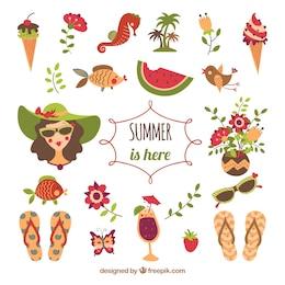 Sommer Elemente Illustration