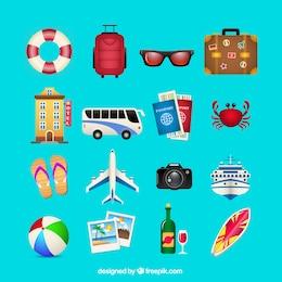 Sommer Reisen Symbole