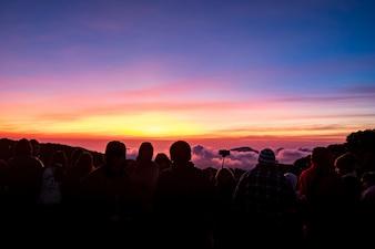 Sonnenaufgang auf Sicht Piont und mehr Tourist