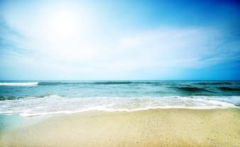 Sonniger Tag mit Meer Hintergrund