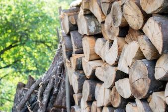 Stapel von Brennholz. Vorbereitung von Brennholz für den Winter. Hintergrund