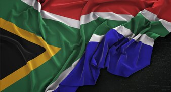 Südafrika Fahne geknickt auf dunklem Hintergrund 3D Render