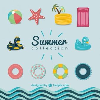 Sommer-Pool-Grafiken eingestellt