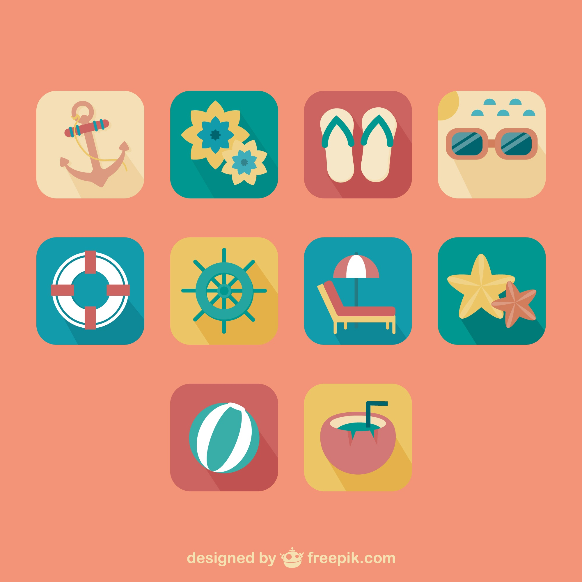 Sommer retro Icons Set