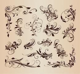 Swirly floralen Elemente im Vintage-Design