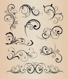 Swirly floralen Elementen Vektor Pack