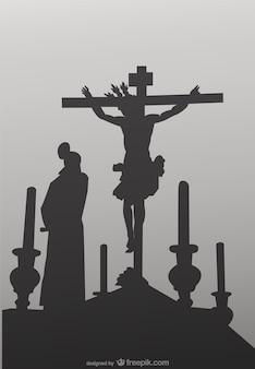 Die Kreuzigung Ritual Vektor-Illustration
