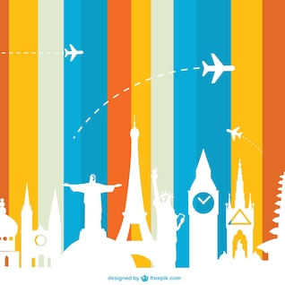 Tourismus-Konzept Vektor Sehenswürdigkeiten