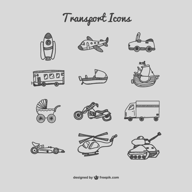 Transport Icons zeichnen Set