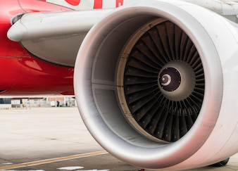 Turbine des Flugzeugs.