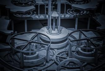 Uhr-Mechanismus in der Technik der Tonisierung gemacht. Sehr geringe Schärfentiefe. Konzentriere dich auf die Zentralzahnräder