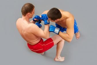 Uniform Boxen zwei energische Kämpfer