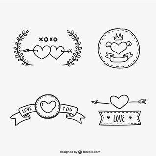 Valentine Bändern und Aufkleber