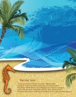 Vector Sommer Strand Hintergrund Palmen Sand Wasser wave Urlaub