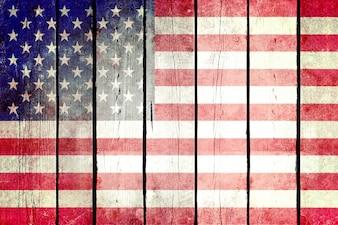 Vereinigte Staaten grunge hölzerne Flagge.