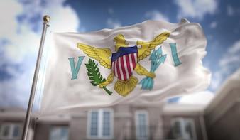 Vereinigte Staaten Virgin Islands Flag 3D Rendering auf blauem Himmel Gebäude Hintergrund