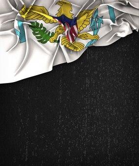 Vereinigte Staaten Virgin Islands Flag Vintage auf einem Grunge Black Tafel Mit Platz Für Text