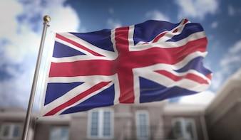 Vereinigtes Königreich Flagge 3D Rendering auf blauem Himmel Gebäude Hintergrund